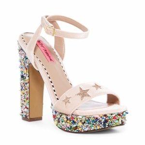 BETSEY JOHNSON Kenna Embellished Star Block Heels